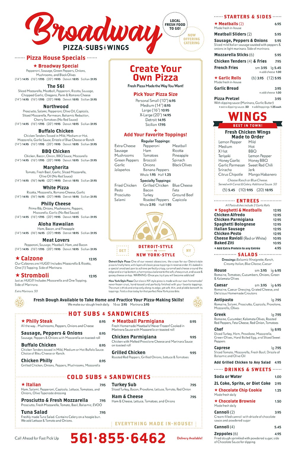Broadway Pizza and Subs Menu